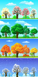 Seasons. Four seasons trees and landscape banners Stock Photography