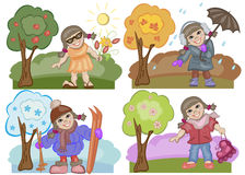 Seasons. The girl walking in the summer, autumn, winter and spring Royalty Free Stock Photography