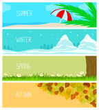 Seasons, Backgrounds, Summer, Winter, Spring, Autumn Royalty Free Stock Images
