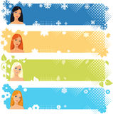 Seasons banners. Four seasons banners with girls Royalty Free Stock Photos
