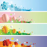 Seasons banners set. Paper cut-out four seasons banners set Stock Photos