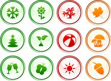 Seasons  buttons. Stock Photography