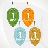 Seasons calendar. Leaf shape. vector format Royalty Free Stock Image