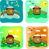 Seasons in cartoon style. Cartoon style house changing according to seasons of the year stock illustration