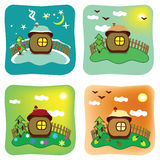 Seasons in cartoon style. Cartoon style house changing according to seasons of the year vector illustration