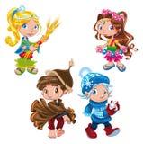 Seasons characters Stock Photography