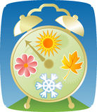 Seasons Clock. An old style alarm clock featuring the four seasons -- a Sun for Summer, a Leaf for Fall, a Snowflake for Winter and a Flower for Spring -- gears Vector Illustration