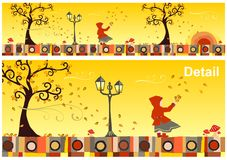 Seasons Collection: Autumn. Girl with a red hood in a windy autumn day. Vector available Royalty Free Stock Images
