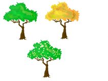 Seasons collection of vector trees. Seasons collection of three vector trees. cartoon style stock illustration