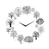 Seasons concept, trees on watches, sketch for your Royalty Free Stock Photo