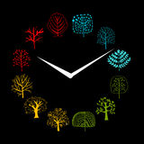 Seasons concept, trees on watches, sketch for your. Design. Vector illustration Royalty Free Stock Photography