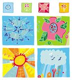 Seasons design elements. Vector set of design elements. Little seasons icons, and big illustrations. Winter, summer, fall, spring Stock Images