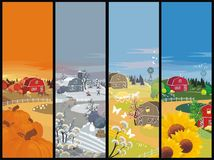 Seasons farm. For season farm banners wioth winter, summer, autumn, spring Stock Photo