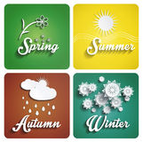 Seasons flat design. With long shadow Stock Photo