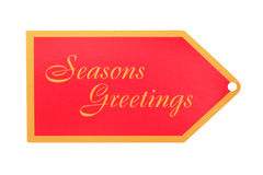 Seasons Greeting Gift Tag Stock Photo