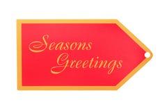 Seasons Greeting Gift Tag Stock Photo
