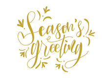 Seasons Greeting Hand Lettering Vector. Gold hand lettered  greetings perfect for greeting cards Royalty Free Stock Image