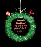 Seasons greeting with xmas hanging decorative wreath Royalty Free Stock Photography