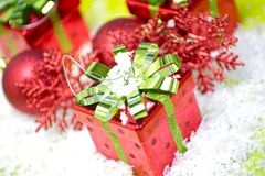 Seasons Greetings. Christmas Presents and Christmas Ornaments. Cool Red-Green Holiday Composition Photo Stock Photo