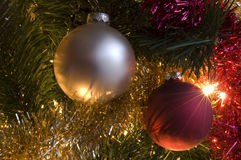 Seasons greetings. A Christmas tree with ornaments Stock Photography