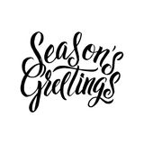 Seasons Greetings Calligraphy. Greeting Card Black Typography on White Background Royalty Free Stock Photo