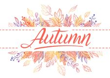 Seasons greetings card. Autumn card.Hand drawn lettering with leaves in fall colors.Seasons greetings card perfect for prints, flyers, banners,invitations Royalty Free Stock Photography
