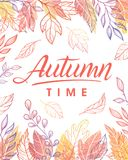 Seasons greetings card. Autumn time.Hand drawn lettering with leaves in fall colors.Seasons greetings card perfect for prints, flyers, banners,invitations Vector Illustration