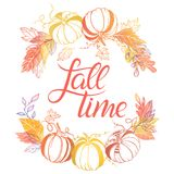 Seasons greetings card. Fall time.Hand drawn lettering with pumpkins and leaves in autumn colors.Seasons greetings card perfect for prints, flyers, banners Stock Illustration