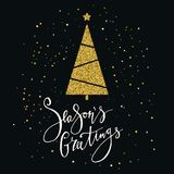 Seasons Greetings card with gold glitter Christmas tree and snowflake. Modern lettering. New Year card. Used for greeting card, va. Lentines day, banner, poster Royalty Free Stock Image