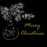 Seasons greetings card with handdrawn Christmas Ball on a fir branch. Card for winter holidays. Free typography lettering. Glitter Golden Merry Christmas text Royalty Free Stock Images