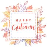 Seasons greetings card. Happy autumn.Hand drawn lettering with leaves in fall colors.Seasons greetings card perfect for prints, flyers, banners,invitations Royalty Free Stock Photo