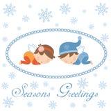 Seasons greetings card with sleeping angels. Cute Seasons greetings card with sleeping angels Stock Image