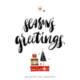 Seasons greetings. Christmas calligraphy. Royalty Free Stock Photo