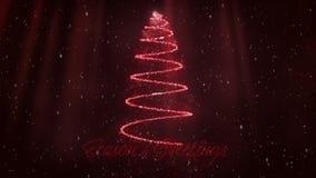 Seasons greetings and Christmas tree in red