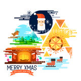 Seasons Greetings!. Flat design christmas elements with santa, ice skating, a xmas fireplace and winter landscape! Vector illustration Stock Photography