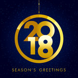 2018 seasons greetings gold happy new year card. Christmas ball consisting of golden colored vector 2018 numbers and text Season`s Greetings on snow holiday Stock Images