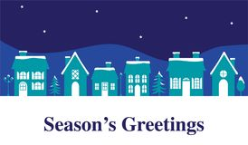 Seasons greetings graphic with houses. Vector graphic royalty free illustration