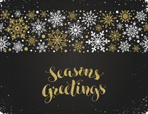 Merry christmas illustration. Seasons greetings greeting card template. Modern winter lettering with snowflakes horizontal frame on chalkboard. Merry Christmas stock illustration