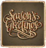 SEASONS GREETINGS vintage card (vector) Royalty Free Stock Photo