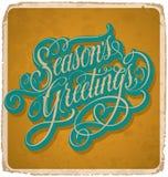 SEASONS GREETINGS vintage card (vector) Royalty Free Stock Photo