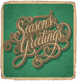 SEASONS GREETINGS hand lettering vintage card (vector) Stock Photo