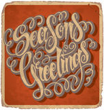 SEASONS GREETINGS hand lettering vintage card (vector) Royalty Free Stock Images