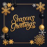 Seasons Greetings 2018 hand written lettering with golden decoration ornament. Frame with snowflakes and balls. Trendy design. Premium luxury Christmas card Royalty Free Stock Photos