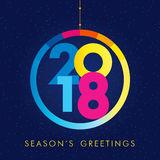 2018 seasons greetings happy new year card. Christmas ball consisting of colored vector 2018 numbers and text Season`s Greetings on snow holiday background Royalty Free Stock Images
