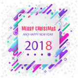 Seasons greetings. Happy New 2018 year. Colorful, contemporary abstraction design. Vector image Royalty Free Stock Photo