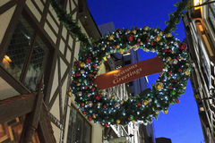 Seasons Greetings. A huge decoration hanging at London Court, Perth, Western Australia, during Christmas and new year period. London Court was built in 1937 Royalty Free Stock Images