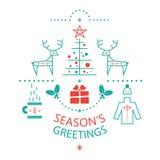 Seasons Greetings illustration. Set to festive new year and Christmas holidays Seasons Greetings winter Christmas symbols style line art: reindeer, sweater, mug Stock Photos