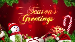 Seasons Greetings with Particles and Ornaments stock footage