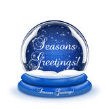 Seasons Greetings Snow Globe Royalty Free Stock Photos