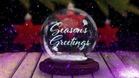 Seasons Greetings on a snow globe